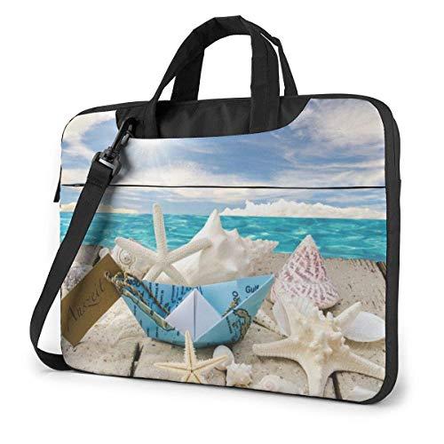 Laptop Umhängetasche 15,6 Zoll, Muscheln Starfishes Beach Aktentasche Schutzhülle für Ultrabook, MacBook, Sony, Notebook
