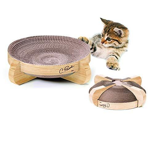 CPark Pet Catnip Cat Scratcher - Reversible Scratching Lounger - Corrugated Pet Scratchboard - Durable Cardboard Scratch Pad - Kitten Scratch Toy Cardboard (1- Pack – Large)