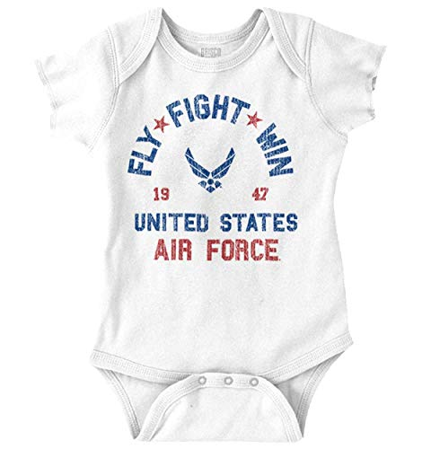 Brisco Brands Fly Fight Win USAF American Army Air Force Unisex Baby Bodysuits White