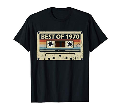 Regalo de 51 años Cassette de música Vintage Best of 1970 Camiseta