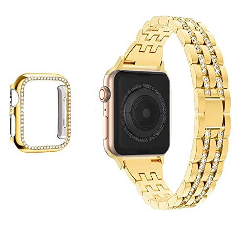 N\C para Apple Watch Series 654321SE Hombres y Mujeres Correa de Diamantes Iwatch Band 44 mm 40 mm 42 mm 38 mm Pulsera de Diamantes de Acero Inoxidable