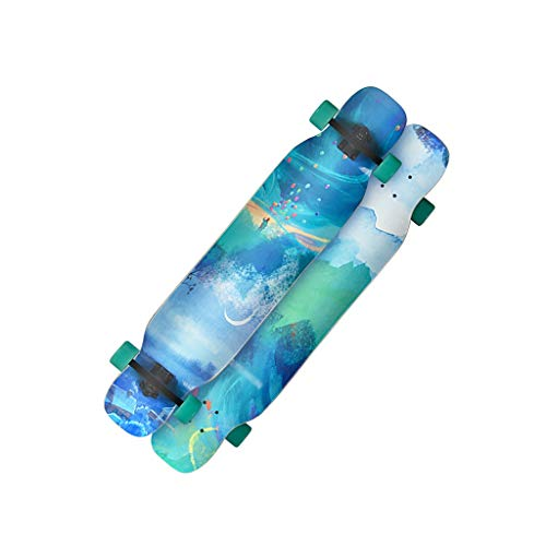 Review LIUFS-Skateboards Female Growth Board Professional Skateboard Student Adult Beginner Four-Wheeled Skateboard – Oil Painting Double-Sided Printing (Color : Blue)