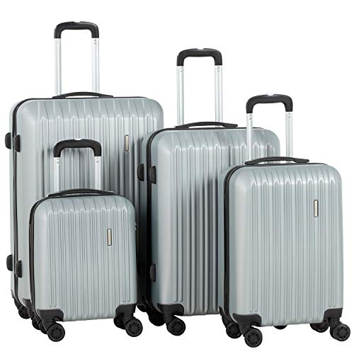 Murtisol ABS Hardside Luggage Sets With Spinner Dual Wheels,Silver, 3-Piece Set(20/24/28)