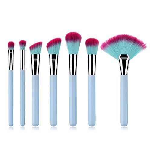 Demarkt Professionnel 7pcs/Set Bleu Clair Pinceau de Maquillage Fibre synthétique Souples pour Les Fonds de Teint Prendre Soin de Votre beauté