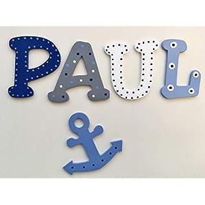 20cm große Holzbuchstaben, inkl. Klebepads für die Kinderzimmertür, Design Anker