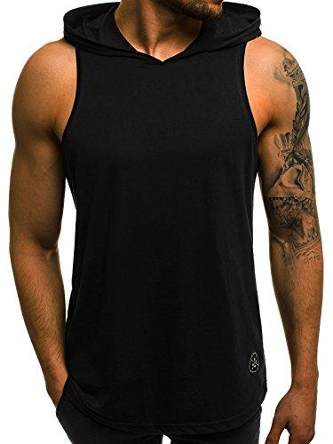 OZONEE Herren Tank Top Tanktop Tankshirt Ärmellos Bodybuilding Shirt Unterhemd T-Shirt Tshirt Tee Muskelshirt Achselshirt Trägershirt Ärmellose Training Sport Fitness 05T SCHWARZ XL