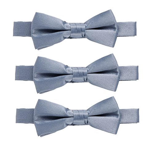 Sportoli174; Kids Baby 3-Pack Adjustable Solid Color Banded Satin Pre-tied Bow Ties - Light Grey