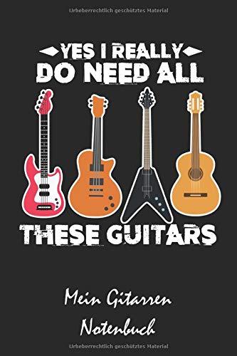 Mein Gitarren Notenbuch: A5 Musikheft | Notenheft | Notenblock mit Notenlinien für Gitarristen, Musiker, Lehrer und Schüler und Studenten