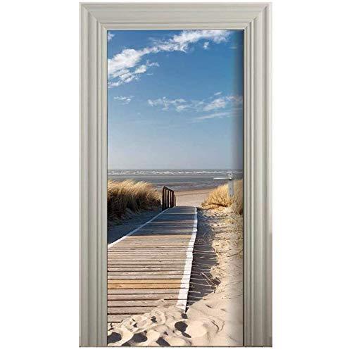 MLDFS - Papel pintado para puerta (autoadhesivo, 88 x 200 cm), diseño de puente en el mar del Norte