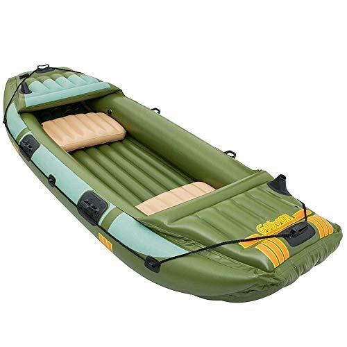 Challenger Kayak Gonfiabile Gommone Gonfiabile Comodo Per Il Tempo Libero Gommone Pieghevole 1-3 Persone Sport Nautici Per Il Mare Adventure PVC Spesso Plastica 316 * 124Cm Pala Di Alluminio Verde