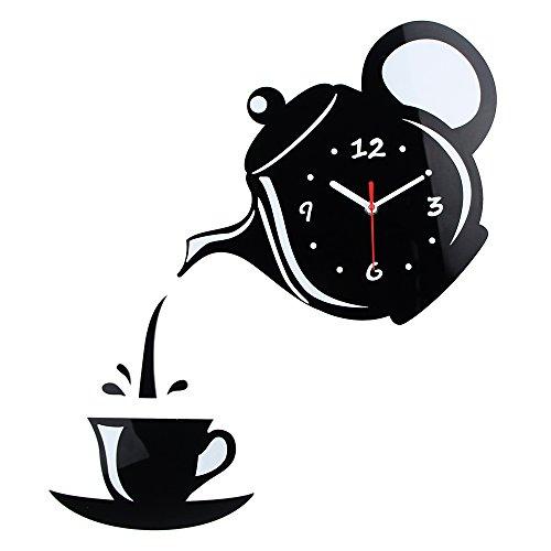Ganeep Nuovo Orologio da Parete a Effetto Specchio a Forma di Tazza di caffè Decorativo Orologi da Parete Cucina Soggiorno Home Decor