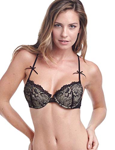 Samantha Chang Women's All Lace Classic Underwire T-Back Bra (36C, Black)