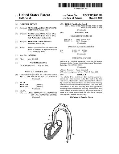 Catheter device: United States Patent 9919087 (English Edition)