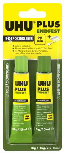 UHU 2-Komponentenkleber 45670 Plus Endfest, Glasklarer und höchst belastbarer 2K-Klebstoff, 33 g