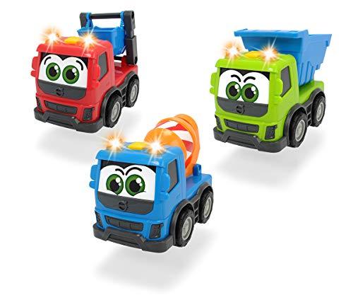 Dickie Toys Happy Volvo FMX, Baufahrzeuge für Kleinkinder, Kipper, Zementmixer oder Container Truck, Licht & Sound, inkl. Batterien, Spielauto für Kinder ab 1 Jahr, 3-fach sortiert, 13 cm