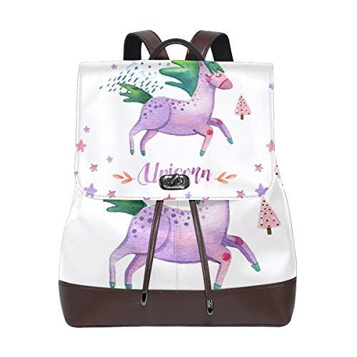 DEZIRO Cuir Happy Unicorn Lot de l'école Sacs à Dos Sac de Voyage