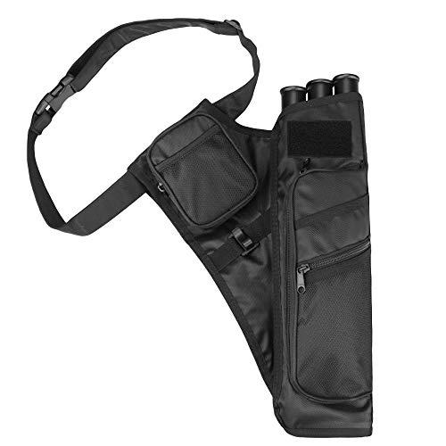 Magarrow Bogenschießen, 3 Röhren, Pfeilköcher, Taille mit verstellbarem Gürtel, Jagd, Zielschießen (schwarz)