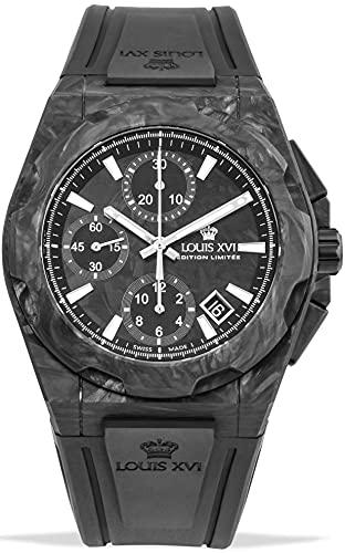 LOUIS XVI Reloj de pulsera para hombre La Vauguyon Forged Carbon con correa de caucho negro Super-LumiNova cronógrafo analógico automático de acero inoxidable 1200