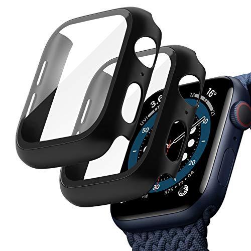 TOPACE 2 unidades de funda para Apple Watch Series 6/5/4/SE, cristal blindado, protección completa de policarbonato ultradelgada, para iWatch Series 6 44 mm/Series 5 44 mm/Series 4 44 mm