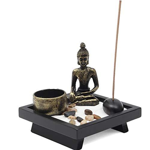Adorno de Buda Sentado Candelabros de jardín Zen para Juego de Regalo de Incienso de ratán de Piedra Natural