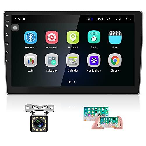 Hikity 10.1 Pulgadas Android Radio del Coche con GPS 2 DIN Estéreo de Coche Bluetooth FM Radio Receptor Soporta Conexión WiFi Enlace de Espejo + Doble Entrada USB & 12 Leds Cámara de Seguridad