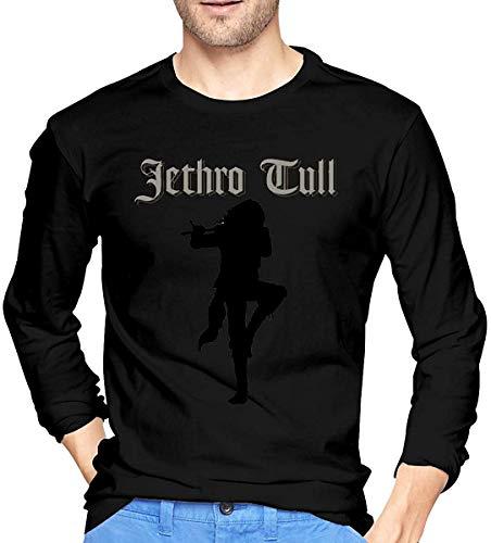 Thimd Jethro Tull Herren Komfort Weiche Langarm Outdoor T-Shirt 100% Baumwolle Druck T-Shirts T-Shirt Schwarz