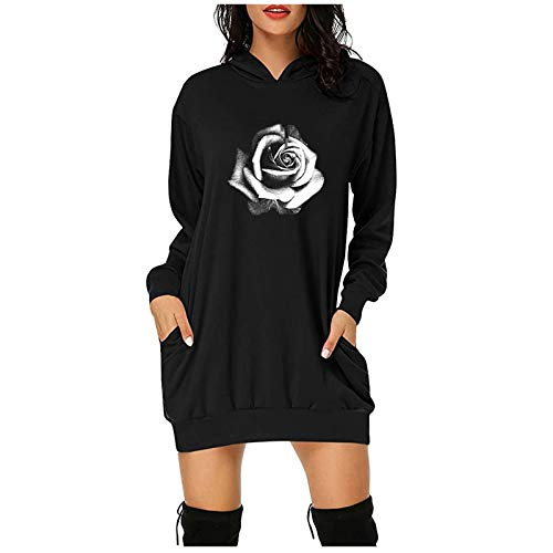 FABIURT Women's Casual Long Sleeve Sweatshirt Dress Solid Color Knee Length Bodycon Pullover Hoodie Dress with Pockets