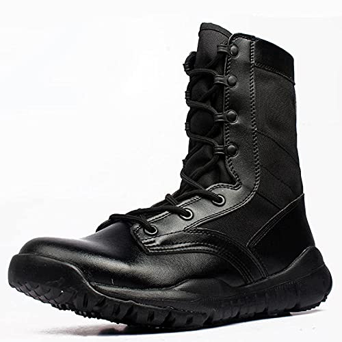 N\C Lightweight And Breathable Hiking Shoes, Men's Combat Boots, PU Leather Military Boots, Lace-up Men's Boots (black)