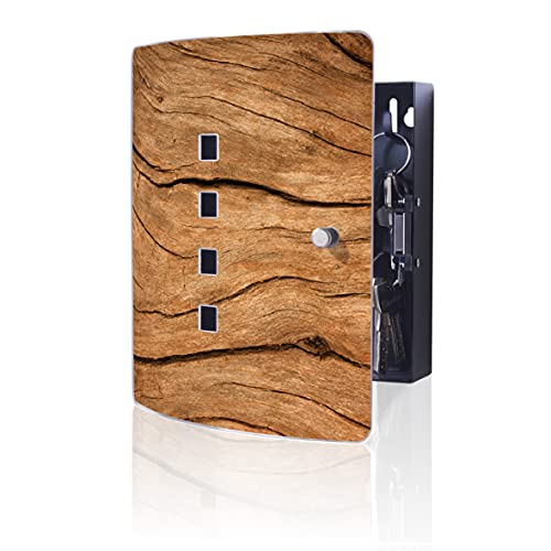 Burg-Wächter 6204/10 Ni Wood - Caja para llaves (10 ganchos y cierre magnético, acero inoxidable), diseño de madera