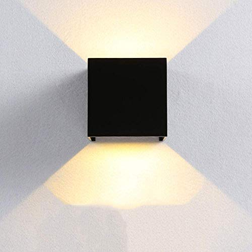 ZXL Wall Wash Lights, Led Square Projection Wandlamp Nordic Outdoor Waterdicht Gang Modern Minimalistische Decoratie 10 Cm, 6 W wit, wit licht