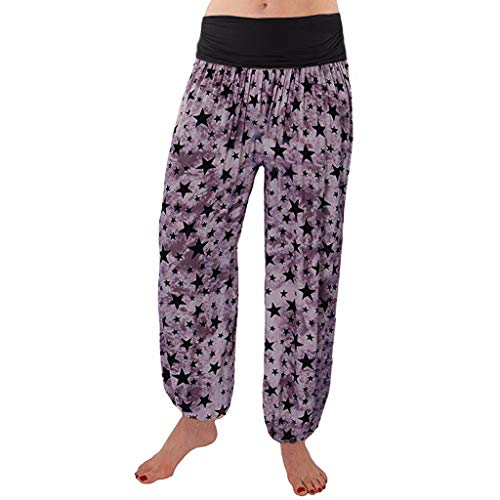 WUSIKY Haremshose Damen Sommerhose Damen Leicht Pumphose Culottes Hosen Boho Hose Lose Leggings Umstandshose Hippie Kleidung Haremshosen Frauen Aladinhose (Purple, M)
