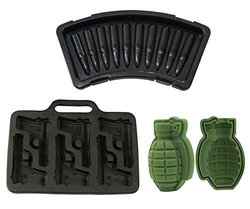 Ice Cube Trays Weapon Series Whiskey Ice Cube Molds DIY Cake Balls Maker Gun AK 47 Bullet 3D Grenade...