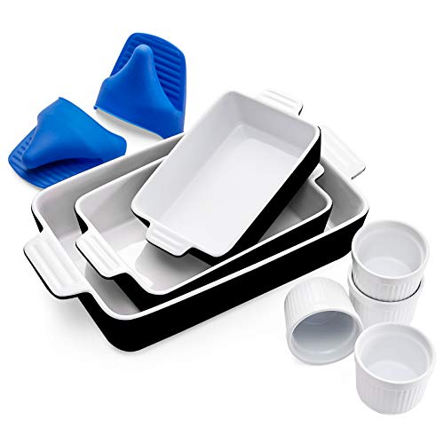 Vexilsy Baking Dish Set, Ceramic Bakeware Set Includes 3 Rectangular Nonstick Casserole Dish, 4 Ramekins, Silicone Mini Oven Gloves, Baking Pans for Lasagna Pan,Cooking,Cake, Dinner,Daily Use (Black)