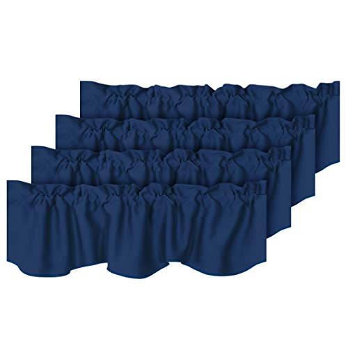 """H.VERSAILTEX 4 Panels Blackout Curtain Valances for Kitchen Windows/Living Room/Bathroom Privacy Protection Rod Pocket Decoration Scalloped Winow Valance Curtains, 52"""" W x 18"""" L, Navy"""