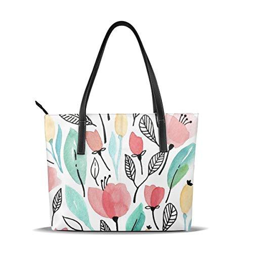 WSPTBRA Watercolor Tulip Print Handle Handbags Satchel Womens Shouler Bags Leather Tote Purse Top Messenger Bags for Ladies