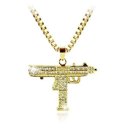 Collar con colgante de pistola de hip hop para hombres, mujeres, diamantes de imitación de color dorado, colgante con dijes CSGO, cadena cubana de oro de buena calidad, joyería punk-xl0538