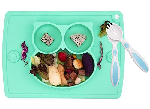 Baby Teller Schüssel Mini Silikon Tischset für Baby Kleinkinder und Kinder Tragbar Teller Baby Rutschfest Babyteller Tischset für die meisten Hochstuhlschalen (1 Eule-Cyan)