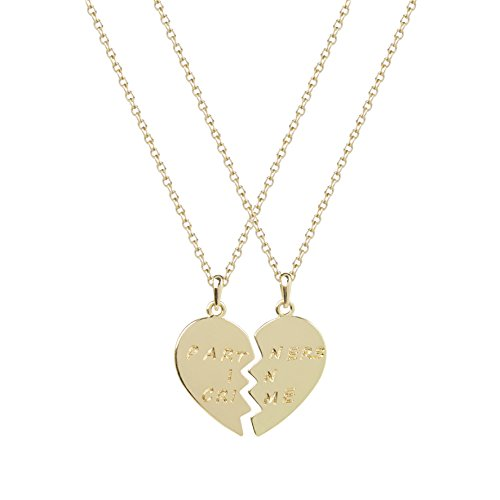 Lux Accessories Partners in Crime Heart BFF Best Friends Heart Pendant Necklaces (2 PC)