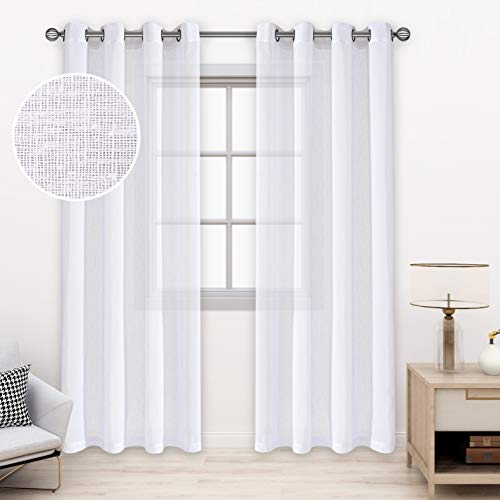 BONZER Burlap Linen Sheer Curtains for Living Room - Grommet Top Sheer Drapes 95 inches Length Light Filtering Voile Window Curtain for Bedroom, Set of 2 Panels (54 x 95 Inch, White)