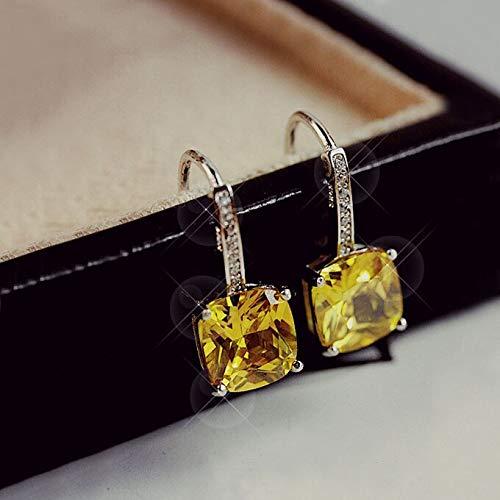 WEILAI Elegantes pendientes brillantes de plata de ley 925 amarillo limón piedra cuadrada circonita cristal gota pendientes para mujer joyería color oro blanco