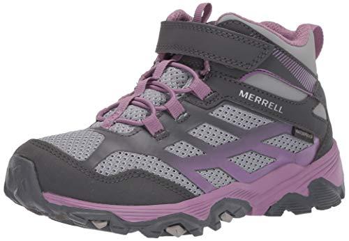 Merrell Unisex-Kid's Moab FST Mid A/C WTRPF Sport Sandal, Grey/Purple, 5 Medium Big Kid