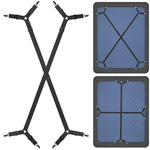 ZHOUBIN Sheet Suspenders Clips, Bed Sheet Straps Mattress Sheet Holders for Twin, Full, Queen, King - Keep Sheets in Place Corner Sheet Grippers Fasteners Sheet Stays