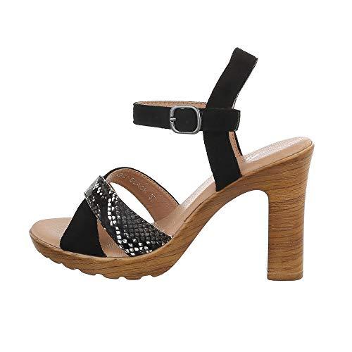 Ital Design Damenschuhe Sandalen & Sandaletten High-Heel Sandaletten, XO-2-, Kunstleder, Schwarz, Gr. 37