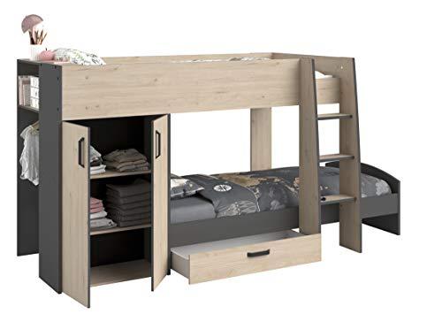 Parisot Stim2 Hochbett Etagenbett mit Bettschubkasten Kleiderschrank/Wäscheschrank