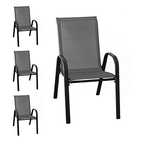 Wohaga® Lot de 4 chaises empilables New York avec revêtement textile anthracite, structure en acier revêtu par pulvérisation Noir