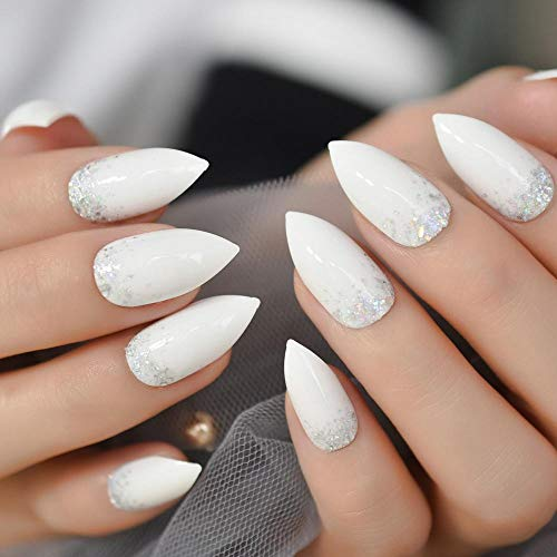 CSCH Faux ongles Glitter Stiletto Nails White Nails Medium Artificial Bright Drill False Nail Pré-conçu 24