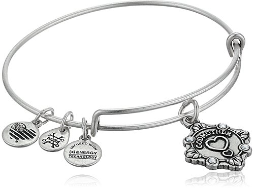 Alex and Ani Womens Because I Love You, Godmother Charm Bangle Bracelet, Rafaelian Silver, Expandable