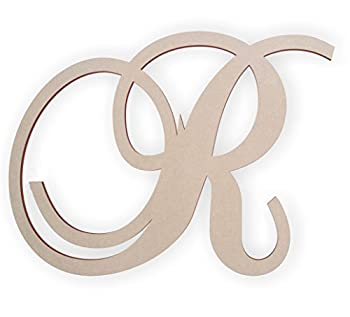 Jess and Jessica Cursive Wooden Letter R for Front Door for Above Crib for Nursery