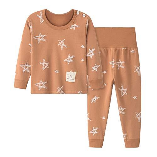 ZHOUBAA Niños Otoño Invierno Mangas Largas De Dibujos Animados Impreso Tops Pantalones Ropa De Dormir Conjunto Niños Pijamas Marrón 2XL