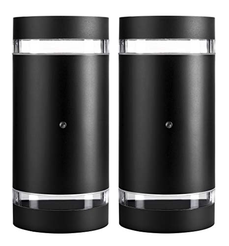 Hyperikon LED Porch Sconce Light, 12W Cylinder, Modern Outdoor Wall Lamp, 4000K Daylight, Black, Photocell, UL, 2 Pack
